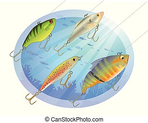 set of four fishing lures in the water