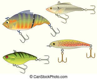 set of four fishing lures on white background