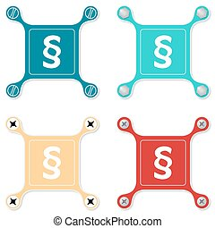 Set of four flat simple icons with screws and paragraph