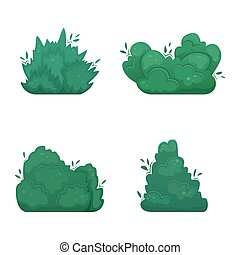 Set of four flat vector shrubs in cartoon style. A set for creating your own design.