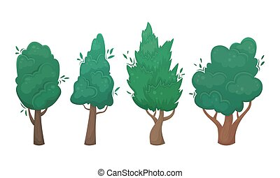 Set of four flat vector trees in cartoon style. A set for creating your own design.