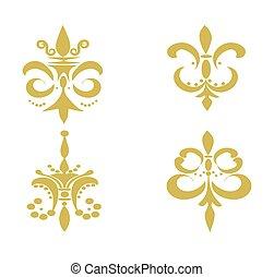 Set of Four Fleur De Lis's - Tan - Illustration of four tan...