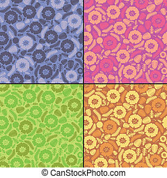 Set of four floral card - four seamless pattern