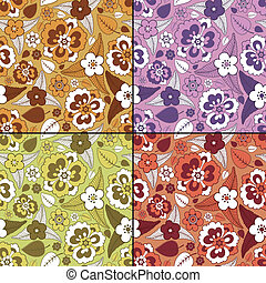 Set of four floral - seamless pattern