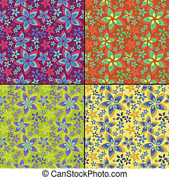 Set of four floral - vector set of four seamless pattern