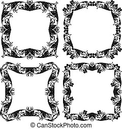 Set of four floral vintage frames on transparent background