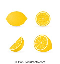 Set of four fresh lemons different views whole, half, slice, cone . Natural organic citrus fruits isolated on white. 3d realistic lemon vector illustration.