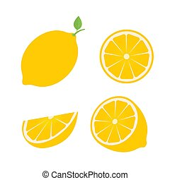 Set of four fresh lemons different views whole, half, slice. Natural organic fruits isolated on white background. Flat vector illustration. emplate for your design projects.