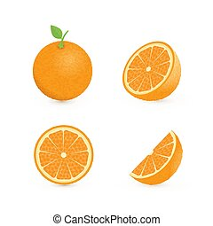 Set of four fresh oranges different views (whole, half, slice, cone) with green leaf. Natural organic fruits isolated on white. 3d realistic orange vector illustration.