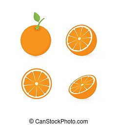 Set of four fresh oranges different views: whole, half, slice. Natural organic fruits isolated on white background. Flat vector illustration.