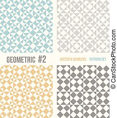 Set of four geometric patterns. Collection of different abstract patterns, number 2. Teal, yellow and grey, dark gray backgrounds. Simple colors - easy to recolor. Seamless vector background.