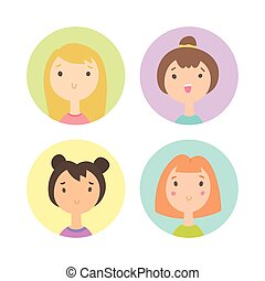 Set of four girls faces.