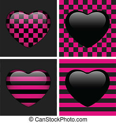 Set of Four Glossy Emo Hearts. Pink and Black Chess and...