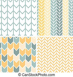 Set of four gray yellow chevron patterns and backgrounds -...