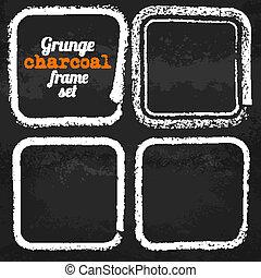 Set of four grunge square chalk frames vector