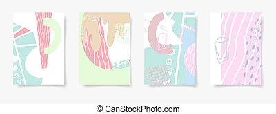 set of four hand drawing abstract design