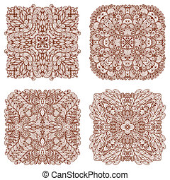 Set of four hand drawn patterns