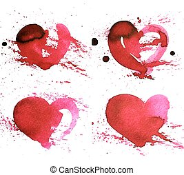 Set of four hand-drawn watercolour red heart.