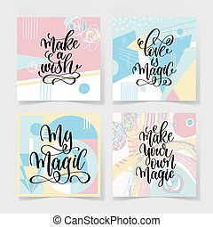 set of four hand lettering positive quote