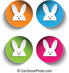 Set of Four Happy Easter Bunny Stickers