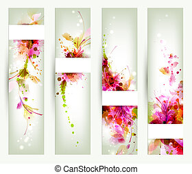 Abstract artistic Backgrounds - Set of four headers. ...