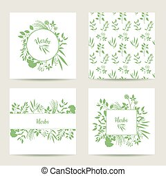 Set of four herbal card templates. Square cards vector...