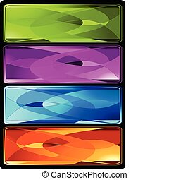 Set of four horizontal colored banners