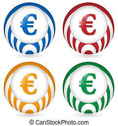 set of four icon with euro symbol