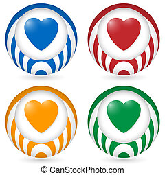 set of four icon with heart