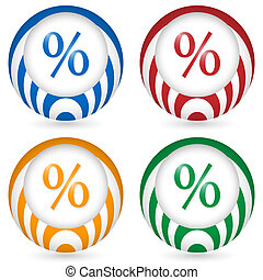 set of four icon with percent symbol