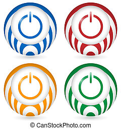 set of four icon with power button