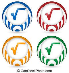 set of four icon with radix symbol
