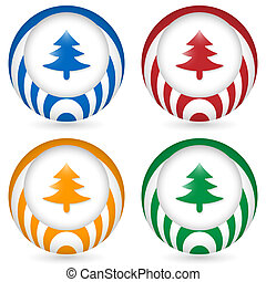 set of four icon with tree symbol