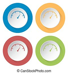 set of four icons - dial symbol - set of four colored icons...