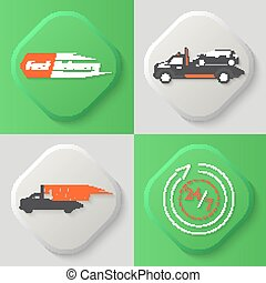 Set of four icons