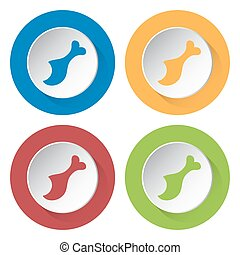 set of four icons - gnawed chicken leg
