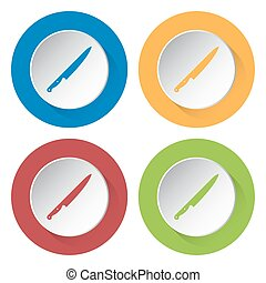 set of four icons - kitchen knife