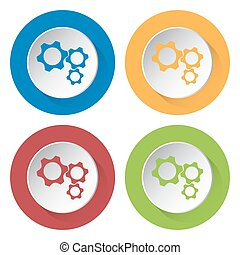 set of four icons - three cogwheel