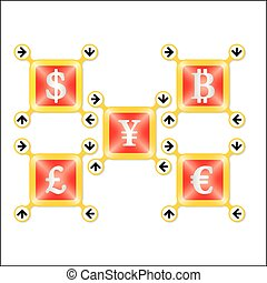 Set of four icons with silver different currencies