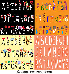 Set of four Illustrated Alphabet, vector illustrations, full alphabet from A to Z.