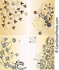 Set of four illustrations with spring flowers