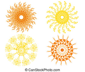 set of four isolated vector suns