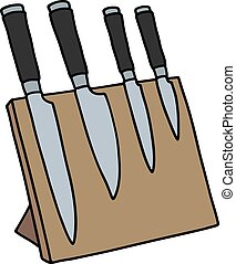 Set of four kitchen knives