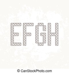 Set of four knitted, embroidered or macrame capital letters of the Latin alphabet. E, F, G and H.