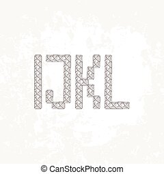Set of four knitted, embroidered or macrame capital letters of the Latin alphabet. I, J, K and L.
