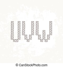 Set of four knitted, embroidered or macrame capital letters of the Latin alphabet. U, V and W.