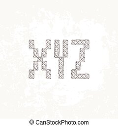 Set of four knitted, embroidered or macrame capital letters of the Latin alphabet. X, Y and Z.