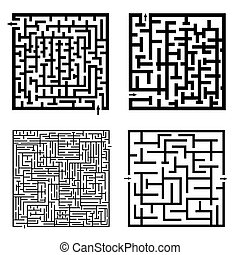 Set of four labyrinths