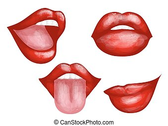 set of four lips