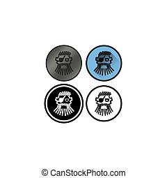 Set of four logos to abstract entities pirates on a...